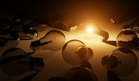 Bright lightbulb illuminating other bulbs 3D rendering Royalty Free Stock Images