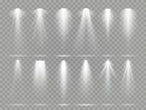 Bright lighting projector beams on theater stage. Rays of studio floodlights, white spotlight light and floodlight. Lights inside theater studio vector set Stock Photos