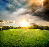 Bright lightning over field Stock Images