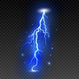 Bright lightning on transparent background. Electric flash. Thunder bolt and lightning. Vector illustration.  vector illustration