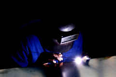 Bright Lights. A man welding Royalty Free Stock Photography