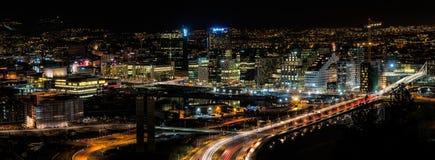 Bright lights, big city II. Oslo's centrum at night, seen from Ekeberget Stock Photos