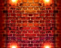 Bright lights on brick wall background Stock Photography