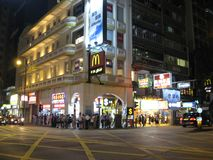 Jordan, Tsim Sha Tsui, Kowloon, Hong Kong at night royalty free stock photography