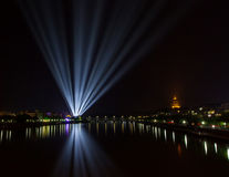 Bright lights from the city on the river royalty free stock photos