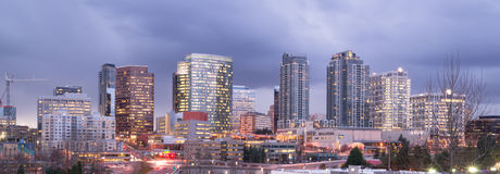 Bright Lights City Skyline Downtown Bellevue Washington USA stock photo
