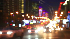 Bright lights of night traffic of the New Arbat avenue in Moscow stock video footage