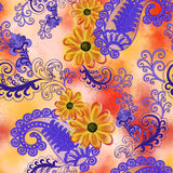 Bright lilac paisley on blurred  background with flowers Stock Photos