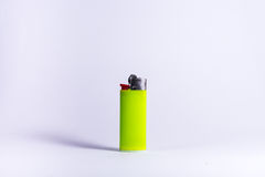 Bright Lime Green Plastic Lighter Fire Isolated White Background Object Stock Photo