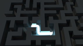 Bright line solving a dark maze puzzle. Digiatal animation of Bright line solving a dark maze puzzle stock footage