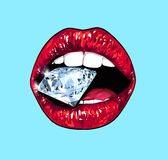 Bright lips holding a sparkling brilliant. Realistic graphic illustration. Blue Stock Images