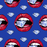 Bright lips holding a sparkling brilliant. Seamless pattern. Realistic graphic drawing. Background. Blue color Stock Image