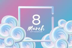 Bright liquid blue flowers. Purple 8 March. Happy Women`s Day. Mother`s Day. Text. Square 3d frame. Spring blossom. Seasonal holiday.Modern decoration on sky royalty free illustration