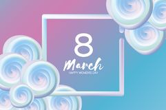 Bright liquid blue flowers. Purple 8 March. Happy Women s Day. Mother s Day. Text. Square 3d frame. Spring blossom. Seasonal holiday.Modern decoration on sky Royalty Free Stock Photography