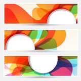 Bright liquid flow colorful banners set Stock Images