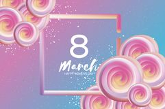 Bright liquid pink flowers. Purple 8 March. Happy Women`s Day. Mother`s Day. Text. Square 3d frame. Spring blossom. Seasonal holiday.Modern decoration on sky stock illustration