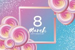 Bright liquid pink flowers. Purple 8 March. Happy Women`s Day. Mother`s Day. Text. Square 3d frame. Spring blossom. Seasonal holiday.Modern decoration. Vector stock illustration