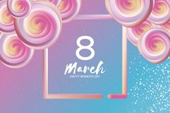 Bright liquid pink flowers. Purple 8 March. Happy Women s Day. Mother s Day. Text. Square 3d frame. Spring blossom. Seasonal holiday.Modern decoration on sky Royalty Free Stock Photo