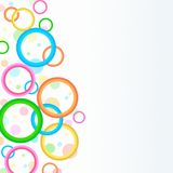 Bright floating circles rings abstract background illustration. Bright lively circles, rings, and dots in shades of pink, blue, green, orange, and yellow create Royalty Free Stock Photo