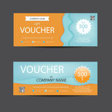 Bright lively orange and blue voucher template vector illustration