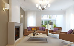 Bright living room with fireplace Stock Photos