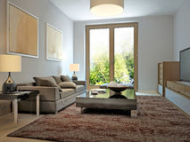 Bright living room modern style Stock Image