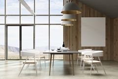 Bright loft interior with empty poster Stock Images
