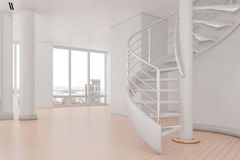 Bright loft with spiral stairs. And hardwood floor Stock Photos