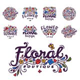 Bright badge for flower shop decorative hand drawn frame template for floral business nature banner vector illustration. Bright logo for flower shop. Decorative Royalty Free Stock Photos