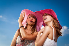 Bright look of girlfriends Royalty Free Stock Photo