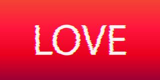 Bright love letter with glitch effect. Template for design. royalty free illustration