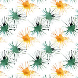 Bright lovely cute beautiful artistic abstract green emerald cadmium blots pattern watercolor. Hand illustration Royalty Free Stock Photos