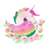 Bright lovely cute fairy magical colorful pattern of unicorn with spring pastel cute beautiful flowers watercolor Stock Photo
