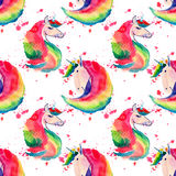 Bright lovely cute fairy magical colorful pattern of unicorns on red spray background watercolor hand illustration Stock Photo