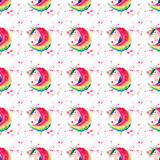 Bright lovely cute fairy magical colorful pattern of unicorns on red spray background watercolor hand illustration Royalty Free Stock Images
