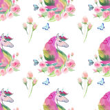 Bright lovely cute fairy magical colorful pattern of unicorns with spring pastel cute beautiful flowers and tropical butterflies Stock Images