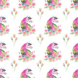 Bright lovely cute fairy magical colorful pattern of unicorns with spring pastel cute beautiful flowers watercolor Stock Photos