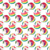 Bright lovely cute fairy magical colorful pattern of unicorns watercolor hand sketch. Royalty Free Stock Photography