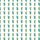 Bright lovely cute sophisticated beautiful mexican hawaii tropical floral herbal summer green pattern of a cactus paint like child Stock Images