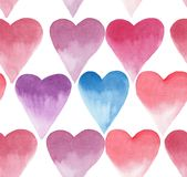 Bright lovely hearts pattern rose and blue watercolor hand sketch Royalty Free Stock Photo
