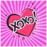 Bright lovely pink speech bubble with XOXO text Stock Photography