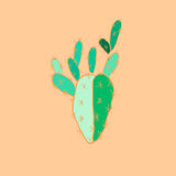 Bright lovely sophisticated mexican hawaii tropical floral herbal summer green cactus paint like child on olive background Stock Photography