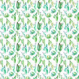Bright lovely sophisticated mexican hawaii tropical floral herbal summer green pattern of a cactus paint like child watercolor and. Pen hand sketch stock illustration
