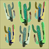 Bright lovely sophisticated mexican hawaii tropical floral herbal summer green seamless pattern of a cactus paint like child on ol Stock Photo