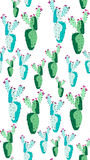 Bright lovely sophisticated mexican hawaii tropical floral herbal summer green seamless pattern of a cactus paint like child vecto Stock Photography