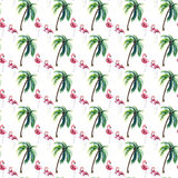 Bright lovely tender gentle sophisticated wonderful tropical hawaii summer pattern of green palm tree and pink flamingos watercolo. R hand sketch. Perfect for royalty free illustration