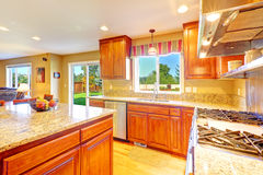 Bright luxury kitchen room with exit to backyard Stock Photography