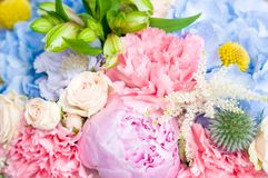 Bright luxury wedding bouquet. Closeup, flowers background Stock Images