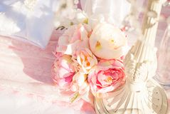 Bright luxury wedding flowers background Stock Photos
