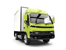 Bright mad green small box truck. Isolated on white background Royalty Free Stock Image
